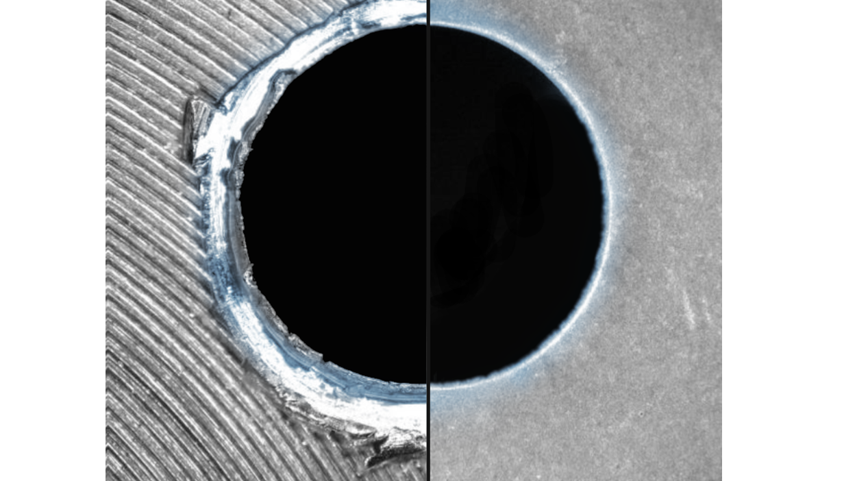 View of a drill hole before and after Chemical Deburring